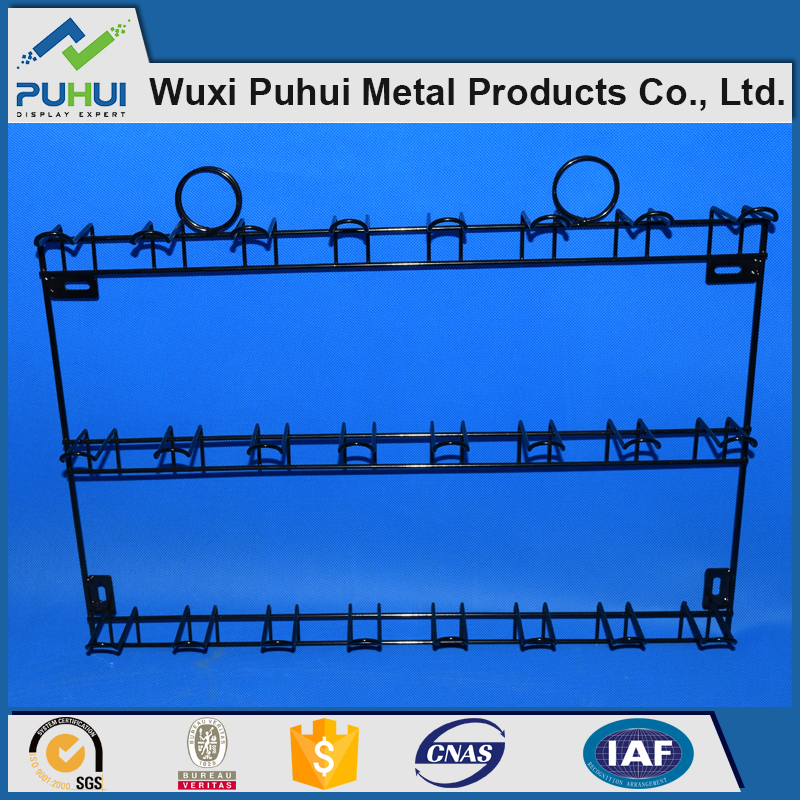 custom steel wire wall fixed display rack with iron rod peg hooks hanger for store promotion