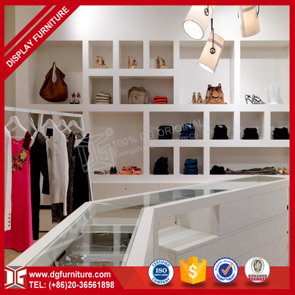 Floating clothes shop shelves design