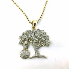 custom hip hop jewelry money tree design 925 sterling silver micro pave cz jewelry gold plated pendant wholesale