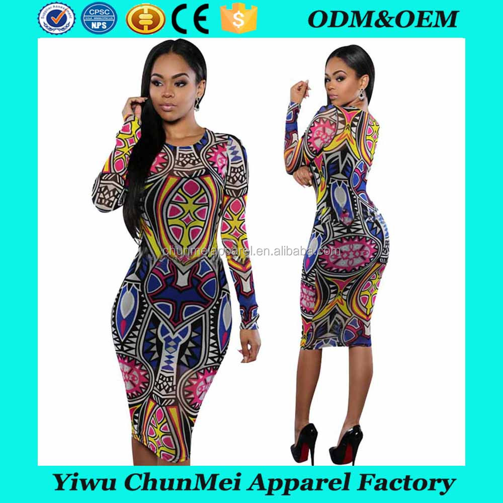 African fashion women bodycon dress ethnic style printing long sleeve african dress for women