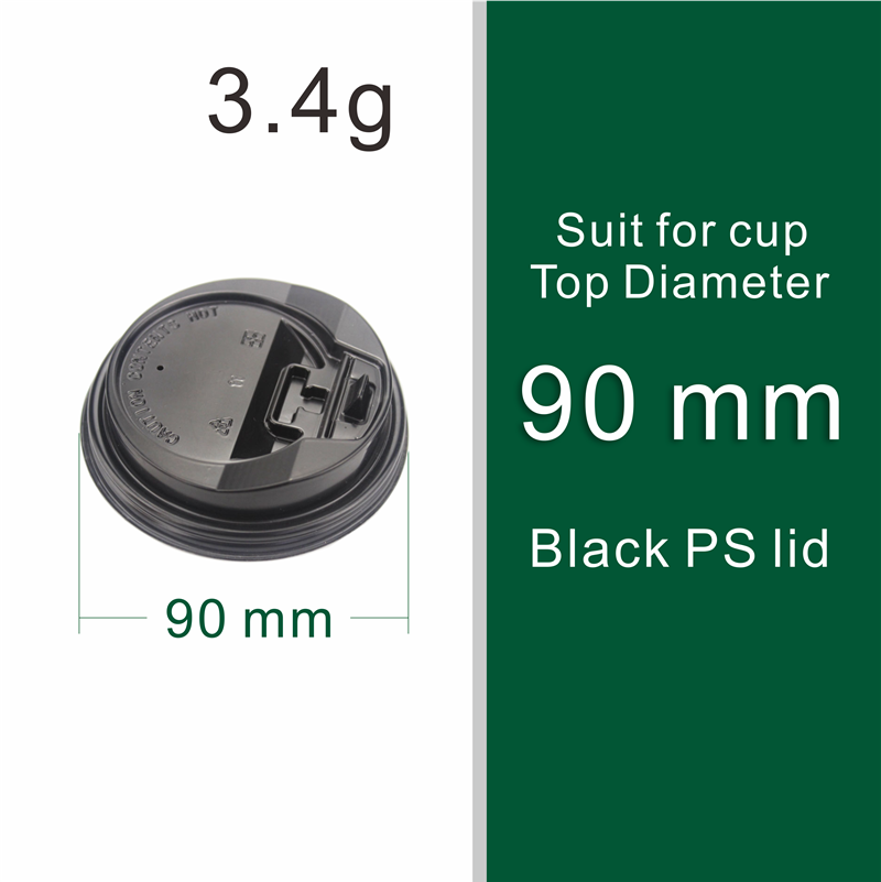 2000pcs/ctn 90mm PS black switch lid  high quality cheap printed disposable cup coffee paper cup lid 90mm PS black switch lid