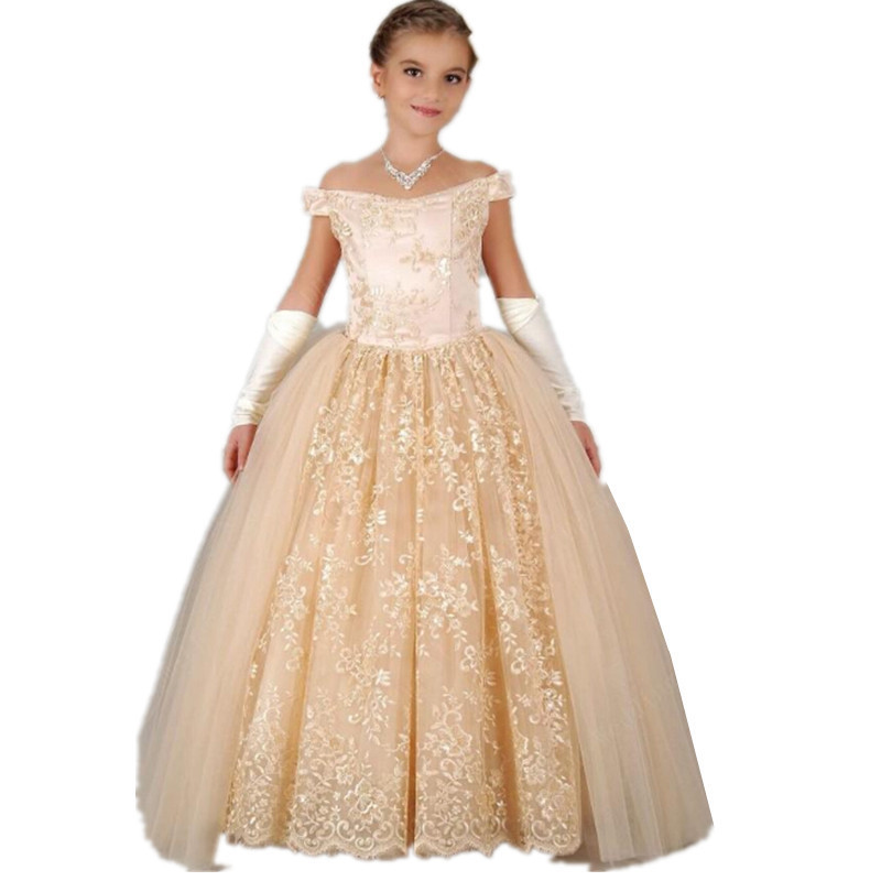 Buy Gorgeous Lace girl ball gown Flower Girl Dresses Off shoulder ...
