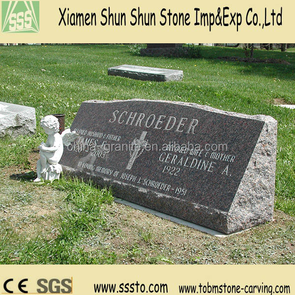 Brown Granite Headstone with Small Angel