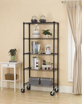 5 Shelf Black Steel Wire Shelving 30 By 14 By 60-inch Storage Rack W ...