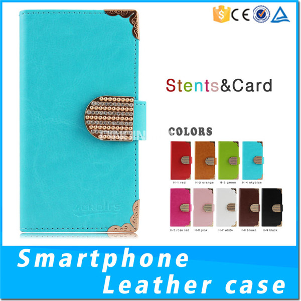 Fashion Handmade Metal Corner Diamond Magnetic Lids PU Leather Case For Sony Xperia X2