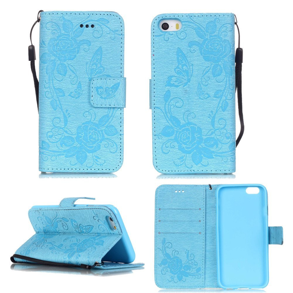 iPhone 5S Case,iPhone SE Wallet Case,XYX [Butterfly flower - Sky Blue] - [Kickstand][Wallet][Card Slot][Flip][Slim Fit][Wrist Strap][Double Embossing] for iPhone 5S SE