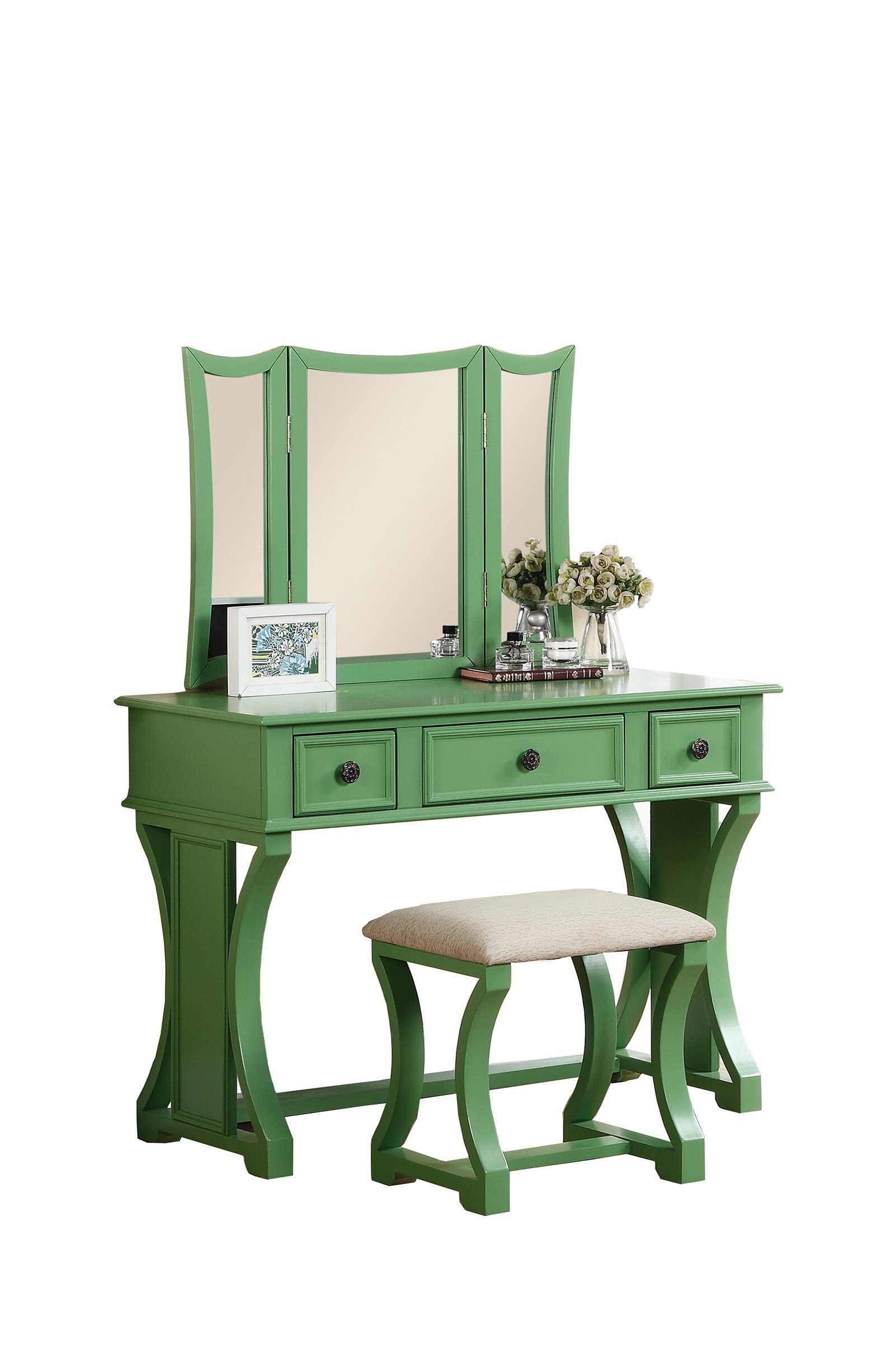 Poundex Bobkona Edna Vanity Set with Stool, Apple Green