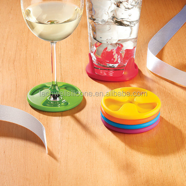 durable slip resistant silicone coaster set of 6 pcs <strong>wine</strong> glass charms coaster