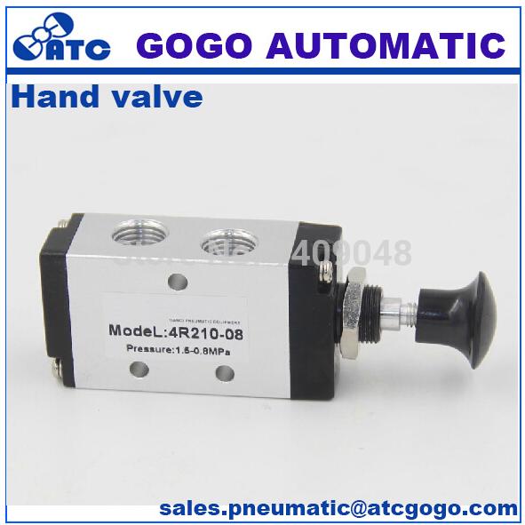 Vanne pneumatique 1//4 BSPT vanne pneumatique /à commande manuelle push-pull /à 3 voies et 2 positions 4R210-08