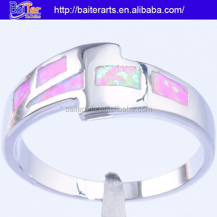 Hot !Custom 925 Sterling Silver Pink Opal Stone Engagement Rings Jewelry