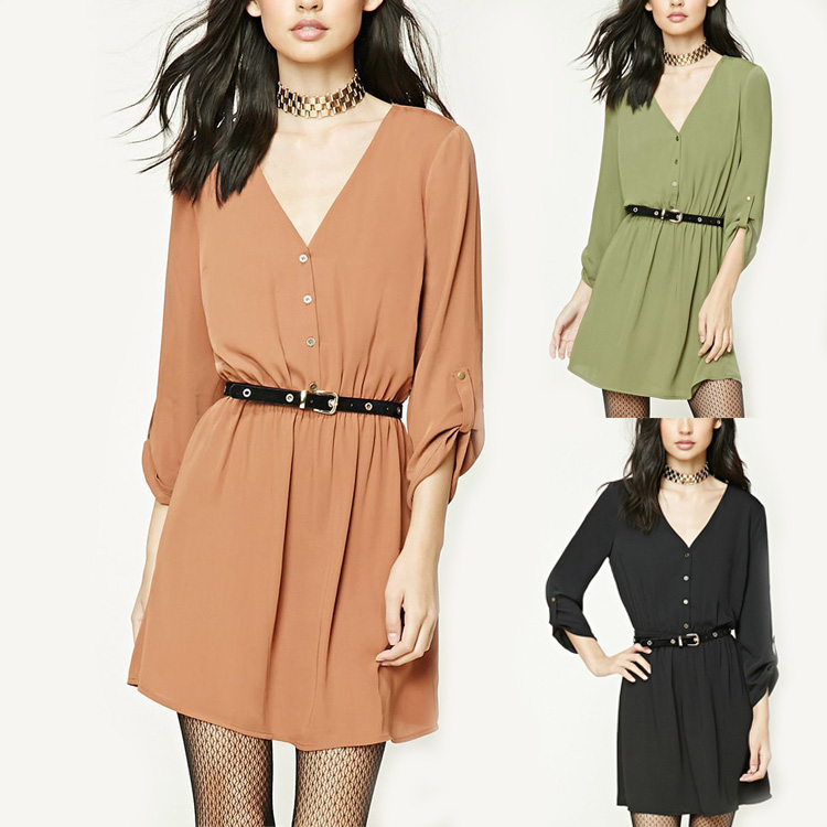 Europe style fashion short sleeve casual green/orange /black color t shirt dress