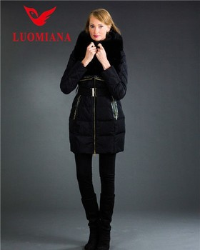 231e947dc Stocklot Black Fur Collar Hooded Belted Women Winter Long Puffer Down  Jacket Coat - Buy Women Winter Jacket,Women Down Jacket,Stocklot Product on  ...