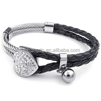 Jewelry Womens Leather Stainless Steel Bracelet Heart Charm Braided Cuff Bangle Black Silver
