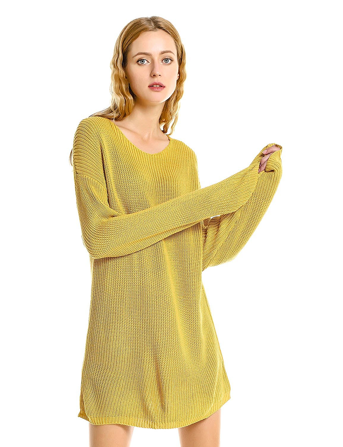 ZAN.STYLE Women Long Sleeve Loose Fit Pullover Cable Knit Sweater Jumper Dress Yellow