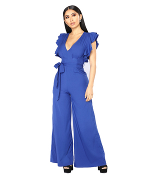 aa6447513e70ff Anti-Pilling Feature Ladies's Jumpsuits Royal Blue Sexy Backless Jumpsuit  Woman