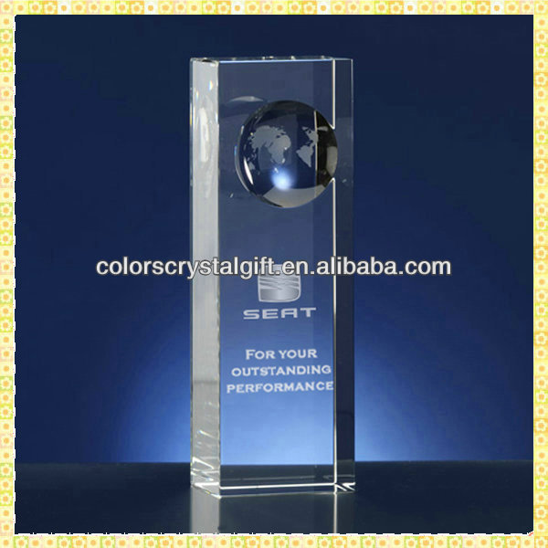 Elegant Crystal Earth Cube Trophy For Thanksgiving Gifts