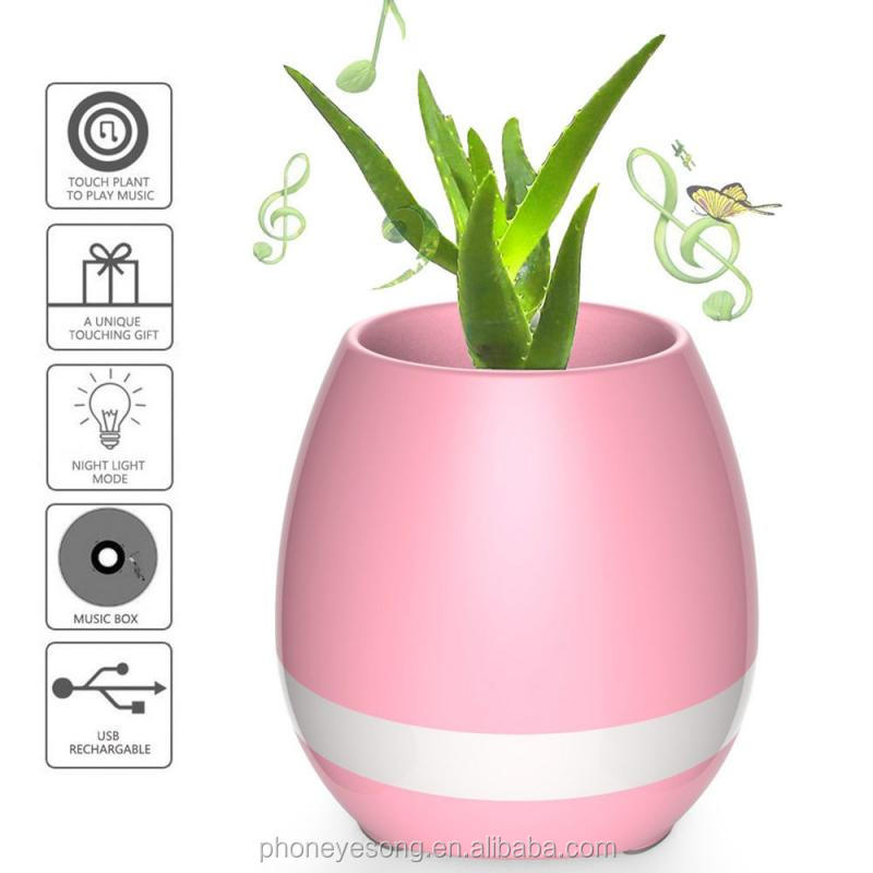 Office Illuminated Pots Music Led Lighted Smart Flower Pot Lamp Speaker Gift