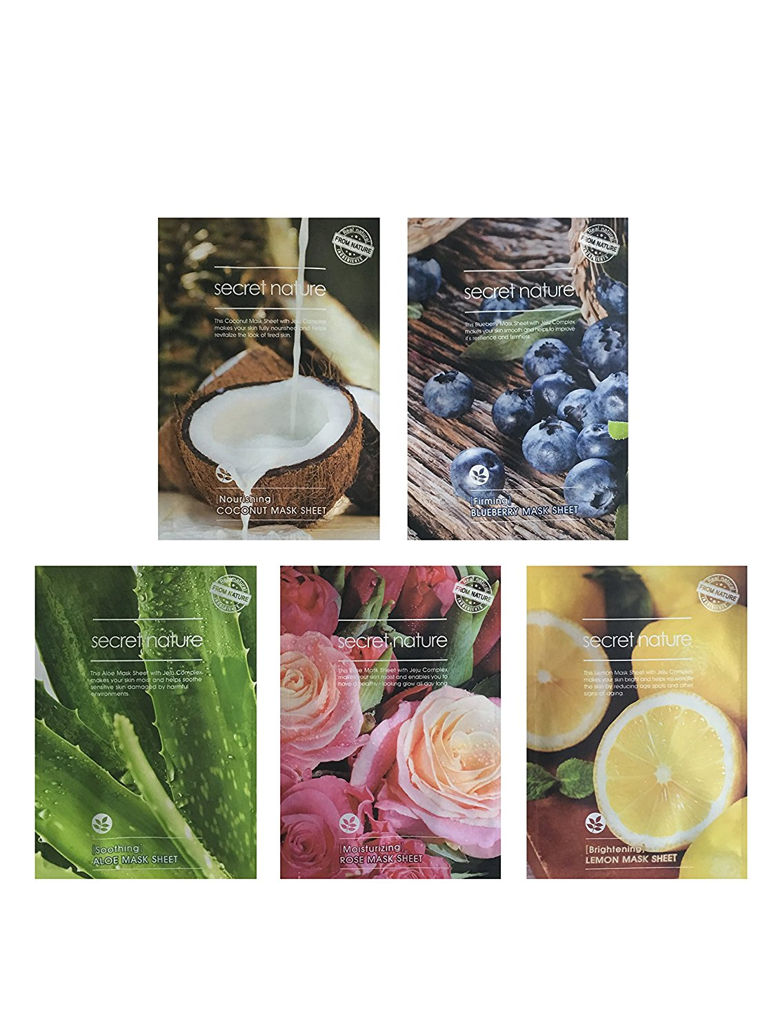 Revitalizing Variety Facial Mask Sheet 10 Pack by Secret Nature - 2x Aloe for Soothing / 2x Lemon for Brightening / 2x Rose for Moisturizing / 2x Blueberry for Firming / 2x Coconut for Nourishing