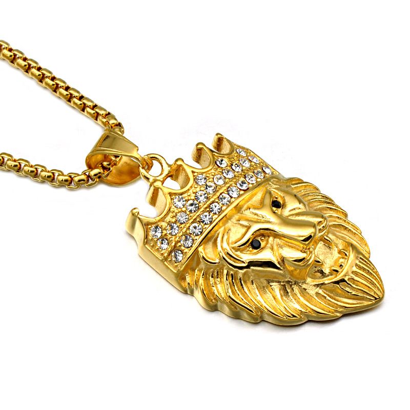 Custom hiphop stainless steel 금 체인 문 주조 지르콘 동물 crown lion 펜 던 트 necklace men jewelry necklaces