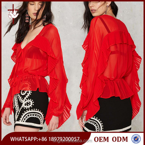 Latest Design Fashion Sheer Chiffon Wing Style Woman Blouse in Red