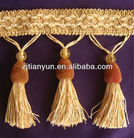 Bargain price polyester beads brown white fringe for sale