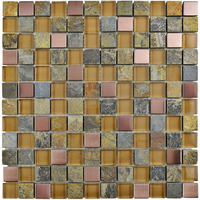 Copper Metal Alloy Natural Stone Mosaic Tile Wall 12