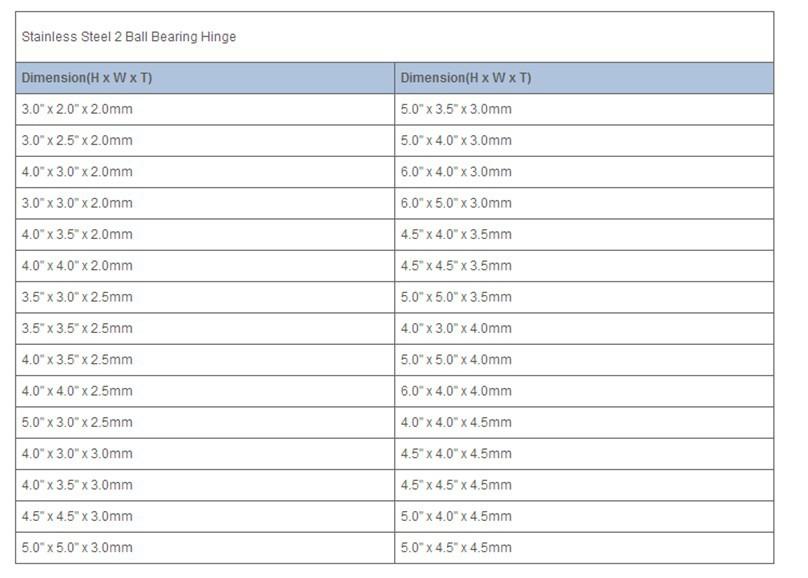 UL vermeld ANSI Grade kogellager Scharnier rvs SS 304 brandwerende zware deur scharnier dikte 3.4mm 4mm4. 6mm 5mm 6mm