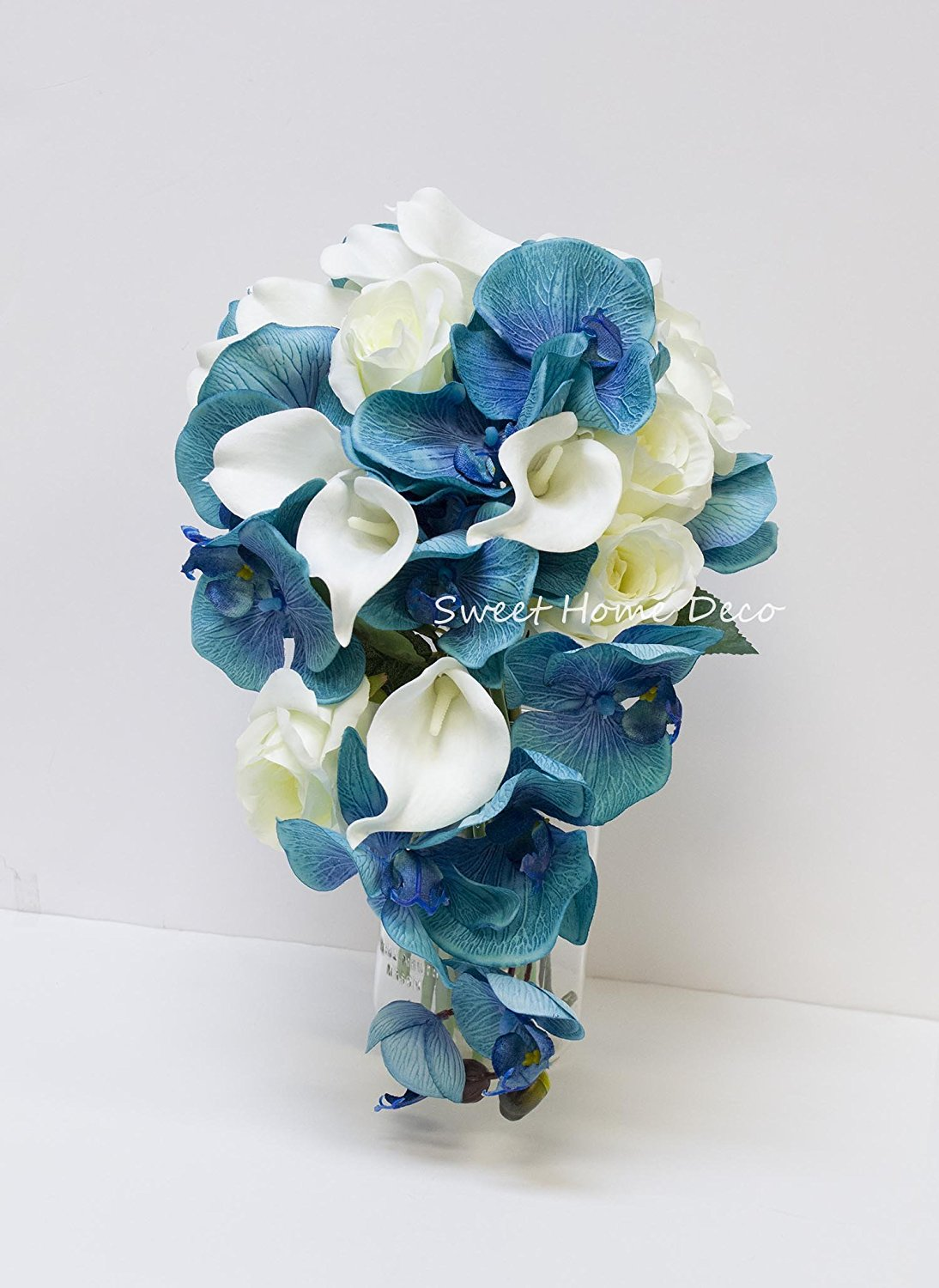 Cheap white and blue bouquet find white and blue bouquet deals on get quotations sweet home deco silk phanaenopsis orchid rose calla lily mixed wedding bridal bouquet bridesmaid bouquet boutonniere izmirmasajfo