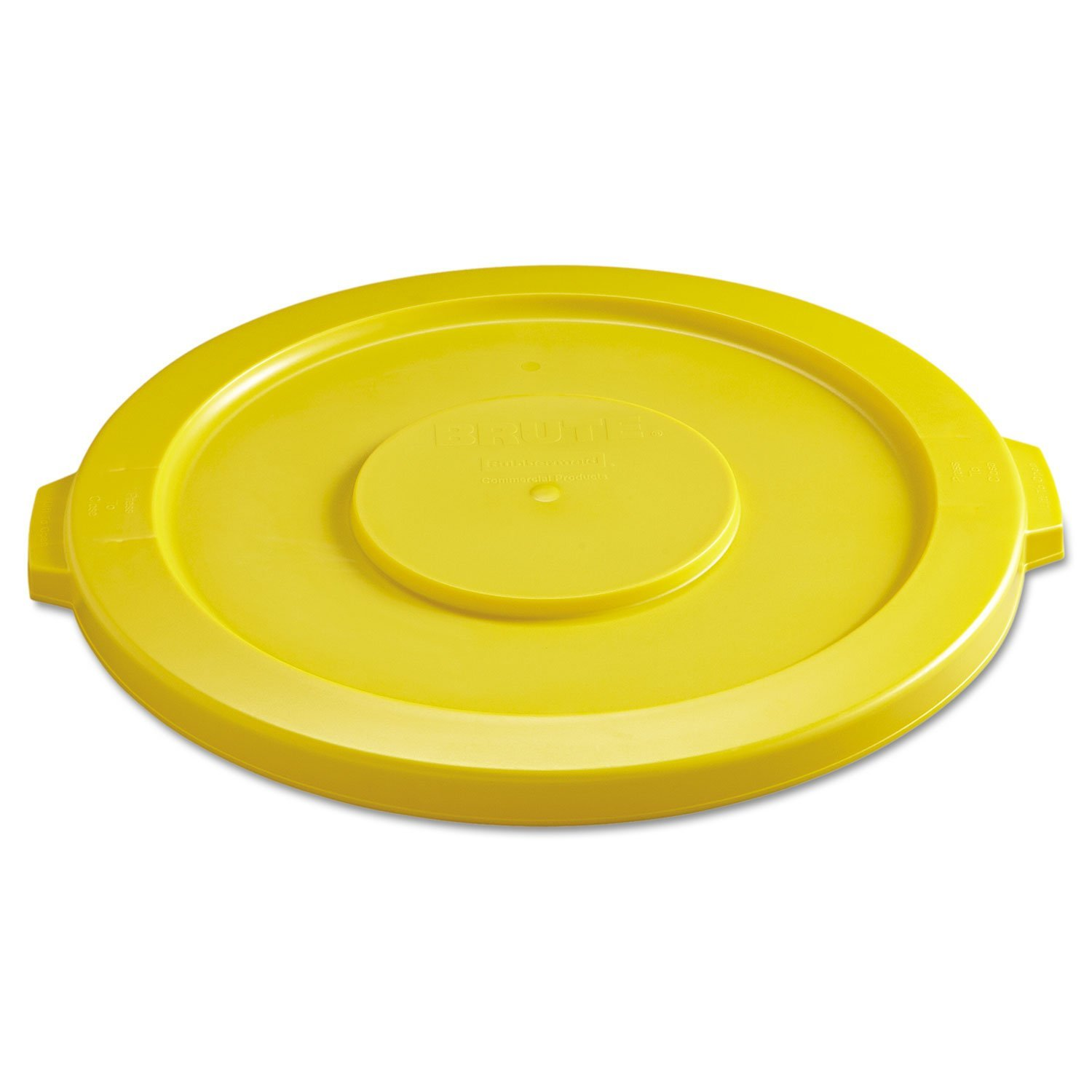 Rubbermaid Commercial Round Flat Top Lid, for 32-Gallon Round Brute Containers, 22 1/4 inch, dia., Yellow