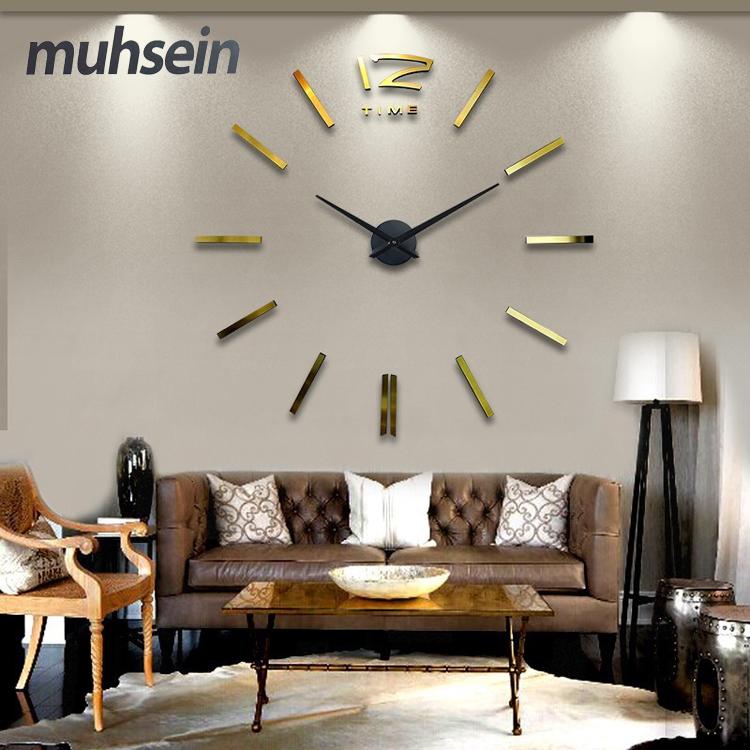 Home decoration big mirror wall clock modern design 3D DIY large decorative wall clocks watch wall