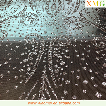 New style Floral pattern Rose Gold shiny glitter tulle lace fabric for fashion dress