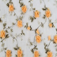 Online shop china textile 3D flower cheap embroidered silk organza fabric