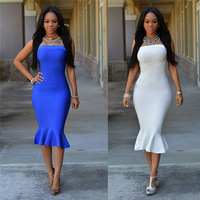 Sexy Women Strapless Solid Wedding Party Evening Bodycon Fishtail Dress