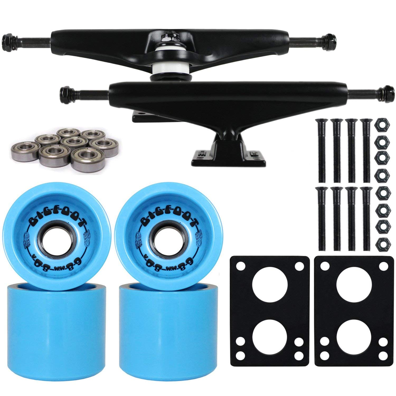 """Longboard Skateboard Trucks Combo Set 68mm Bigfoot Boardwalk Wheels with Black Trucks, Bearings, and Hardware Package (68mm Blue Wheels, 6.0 (8.63"""") Black Trucks)"""