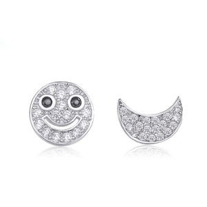 Smile Face 925 Sterling Silver Stud Earrings for Women Jewelry