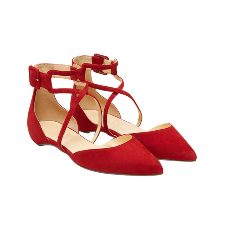dea6e73f6c82f Custom Logo Kid Suede Red Leather Flat Shoes Sexy Women Ankle Strap Pointed  Toe Leather Ballet Flats - Buy Ballet Flats,Women Flat Shoes,Shoes Women ...