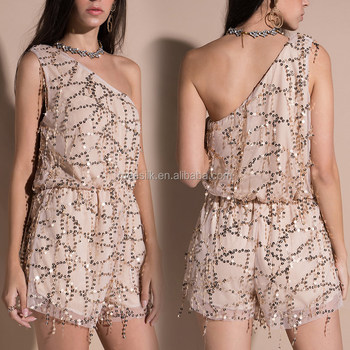 2018 Latest Modern Design Women One-Shoulder-Off Rompers Ladies Sexy Party Sequins Rompers Club Wear