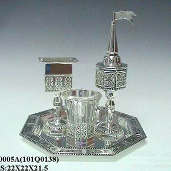 pewter plated iron tray & fuotain w. antique