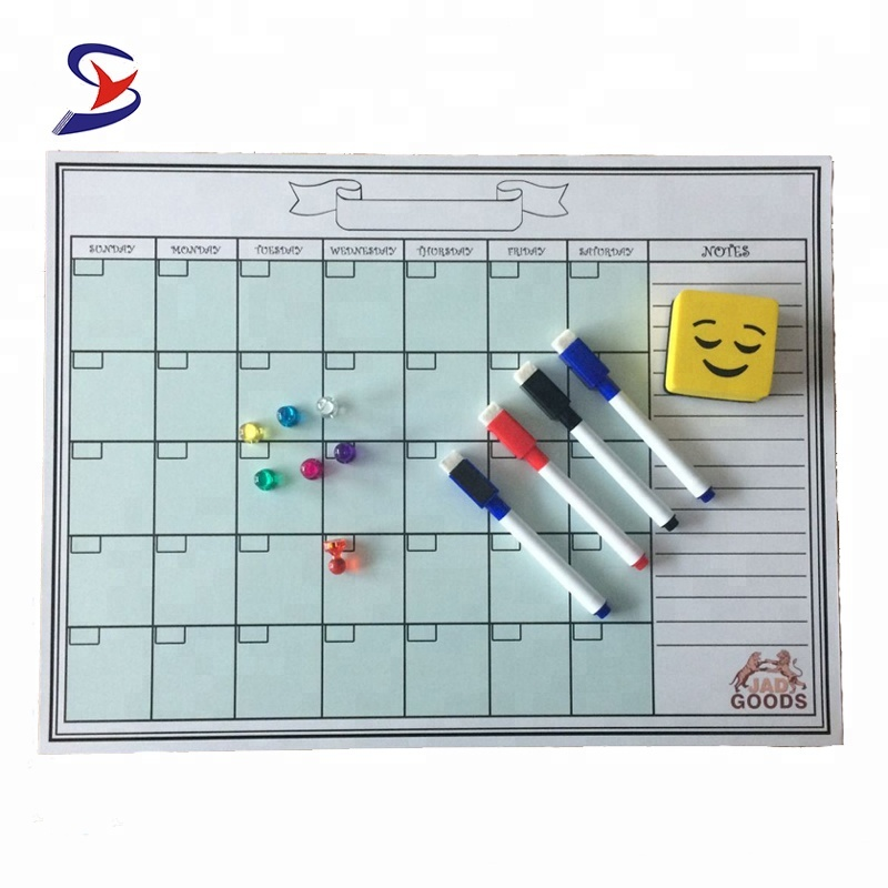 Customized Monthly Magnetic Refrigerator Calendar Dry Erase Board