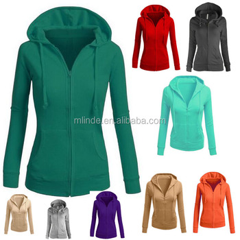 OEM Women Plus Size Fall Fleece Basic Solid Knitted Lady Casual Zip-Up Jackets Manufacturer Lightweight Cotton Hoodies Women