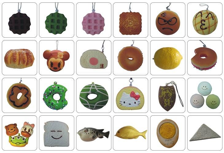 Espuma de PU perfumado pão jumbo mini squeeze toy bola para decoração chaveiro