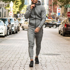 100% cotton sportswear men tracksuits men jersey tracksuits zipper up fitness wear tracksuits large