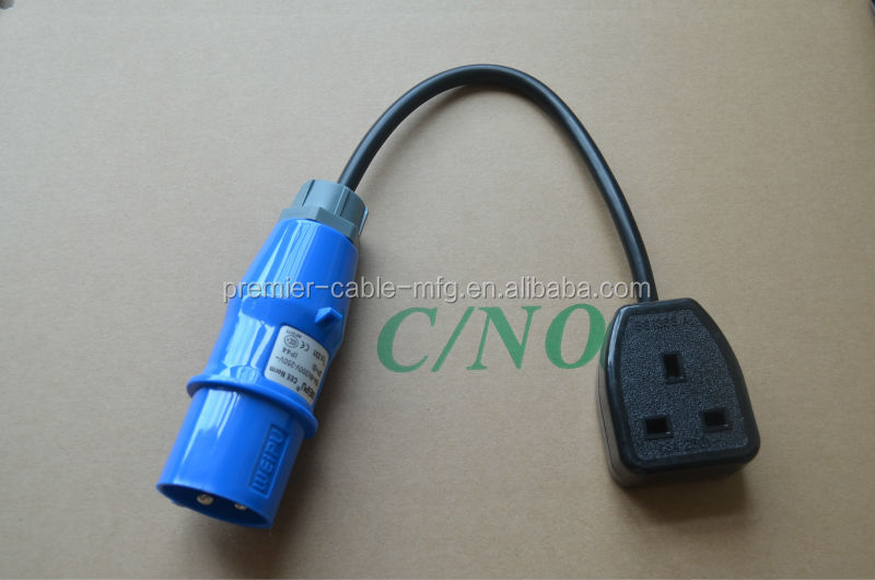 16Amp Plug to 13Amp Socket Fly Lead Adaptor