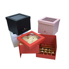 2 layers rotated square flower box cardboard with lid for flower and gift with ribbon