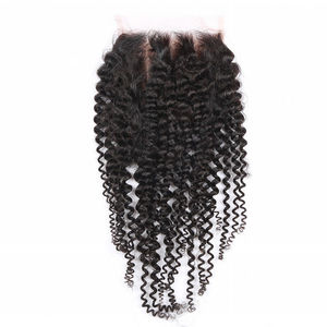 Indian Virgin Hair Closures Top Indian Kinky Curly Lace Closure Bleached Knots Closure Free/Middle/3 Part