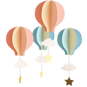 Hot Air Balloon 3D Paper Garland Hanging Decorations for Wedding Baby Shower Valentine's Day Christmas Decor