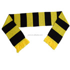 100%Acrylic Knit Yellow Black Football Fans Bar Scarf