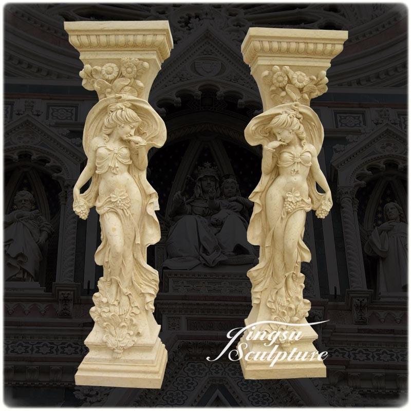 Hot selling hand carved greek indoor decorative columns for Decorative columns