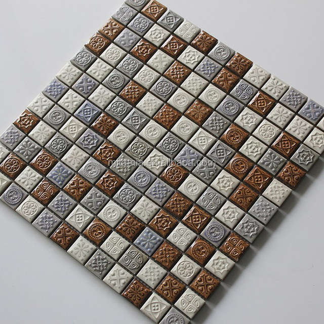 Pattern Ceramic Mosaic Bathroom Wall Tile, Cultural Brick Ceramic Mosaic