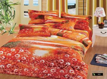 Queen Size Cotton Floral Design Bedding Set Luxury D Print - Orange print sheets